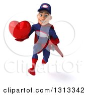 Clipart Of A 3d Young White Male Super Hero Mechanic In Red And Dark Blue Sprinting And Holding A Heart Royalty Free Illustration