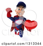 Clipart Of A 3d Young White Male Super Hero Mechanic In Red And Dark Blue Flying And Holding A Heart Royalty Free Illustration