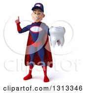 Clipart Of A 3d Young White Male Super Hero Mechanic In Red And Dark Blue Holding Up A Finger And A Tooth Royalty Free Illustration