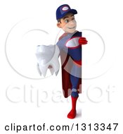 Clipart Of A 3d Full Length Young White Male Super Hero Mechanic In Red And Dark Blue Holding A Tooth Around A Sign Royalty Free Illustration