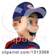 Clipart Of A 3d Avatar Of A Young White Male Super Hero Mechanic In Red And Dark Blue Facing Right Royalty Free Illustration