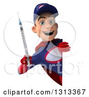 Clipart Of A 3d Young White Male Super Hero Mechanic In Red And Dark Blue Holding A Giant Vaccine Syringe Around A Sign Royalty Free Illustration