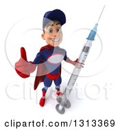 Clipart Of A 3d Young White Male Super Hero Mechanic In Red And Dark Blue Holding Up A Thumb And A Giant Vaccine Syringe Royalty Free Illustration