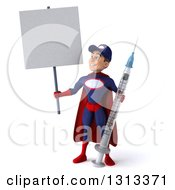 Clipart Of A 3d Young White Male Super Hero Mechanic In Red And Dark Blue Holding A Giant Vaccine Syringe And A Blank Sign Royalty Free Illustration