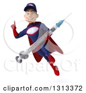 Clipart Of A 3d Young White Male Super Hero Mechanic In Red And Dark Blue Flying Holding Up A Finger And A Giant Vaccine Syringe Royalty Free Illustration