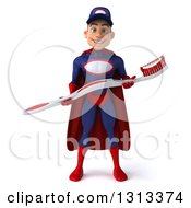 Clipart Of A 3d Young White Male Super Hero Mechanic In Red And Dark Blue Holding A Giant Toothbrush Royalty Free Illustration