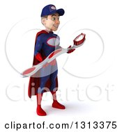 Clipart Of A 3d Young White Male Super Hero Mechanic In Red And Dark Blue Facing Slightly Right And Holding A Giant Toothbrush Royalty Free Illustration