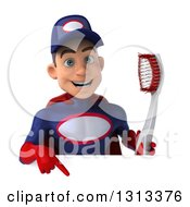 Clipart Of A 3d Young White Male Super Hero Mechanic In Red And Dark Blue Holding A Giant Toothbrush And Pointing Down Over A Sign Royalty Free Illustration