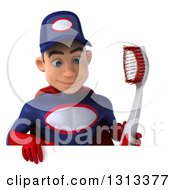 Clipart Of A 3d Young White Male Super Hero Mechanic In Red And Dark Blue Holding A Giant Toothbrush And Looking Down Over A Sign Royalty Free Illustration