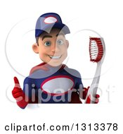 Clipart Of A 3d Young White Male Super Hero Mechanic In Red And Dark Blue Holding A Giant Toothbrush And Giving A Thumb Up Over A Sign Royalty Free Illustration