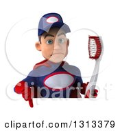 Clipart Of A 3d Young White Male Super Hero Mechanic In Red And Dark Blue Holding A Giant Toothbrush And Giving A Thumb Down Over A Sign Royalty Free Illustration