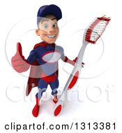 Clipart Of A 3d Young White Male Super Hero Mechanic In Red And Dark Blue Holding Up A Thumb And A Giant Toothbrush Royalty Free Illustration