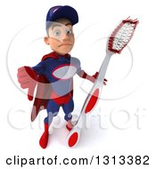 Clipart Of A 3d Young White Male Super Hero Mechanic In Red And Dark Blue Holding Up A Thumb Down And A Giant Toothbrush Royalty Free Illustration