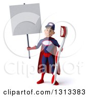 Clipart Of A 3d Young White Male Super Hero Mechanic In Red And Dark Blue Holding A Giant Toothbrush And A Blank Sign Royalty Free Illustration