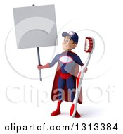 Clipart Of A 3d Young White Male Super Hero Mechanic In Red And Dark Blue Holding A Giant Toothbrush And Looking Up At A Blank Sign Royalty Free Illustration