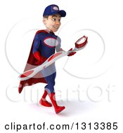 Clipart Of A 3d Young White Male Super Hero Mechanic In Red And Dark Blue Walking To The Right And Holding A Giant Toothbrush Royalty Free Illustration