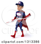 Clipart Of A 3d Young White Male Super Hero Mechanic In Red And Dark Blue Walking To The Left And Holding A Giant Toothbrush Royalty Free Illustration