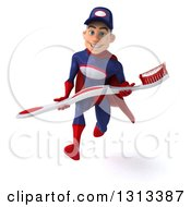 Clipart Of A 3d Young White Male Super Hero Mechanic In Red And Dark Blue Sprinting And Holding A Giant Toothbrush Royalty Free Illustration