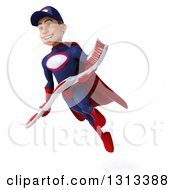 Clipart Of A 3d Young White Male Super Hero Mechanic In Red And Dark Blue Flying And Holding A Giant Toothbrush Royalty Free Illustration