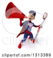 Clipart Of A 3d Young White Male Super Hero Mechanic In Red And Dark Blue Holding A Giant Toothbrush And Announcing Upwards With A Megaphone Royalty Free Illustration