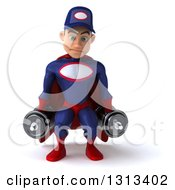 Clipart Of A 3d Young White Male Super Hero Mechanic In Red And Dark Blue Working Out Doing Squats With Dumbbells Royalty Free Illustration