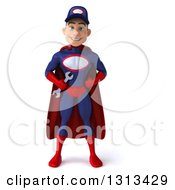 Clipart Of A 3d Young White Male Super Hero Mechanic In Red And Dark Blue Standing With Hands On His Hips Royalty Free Illustration