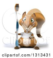 Clipart Of A 3d Casual Squirrel Wearing A White T Shirt And Holding A Giant Toothbrush Royalty Free Illustration