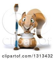 Clipart Of A 3d Casual Squirrel Wearing A White T Shirt Holding Up A Finger And A Giant Toothbrush Royalty Free Illustration