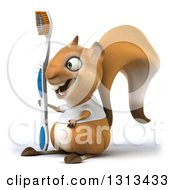 Clipart Of A 3d Casual Squirrel Wearing A White T Shirt Facing Left And Holding A Giant Toothbrush Royalty Free Illustration