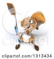 Clipart Of A 3d Casual Squirrel Wearing A White T Shirt Looking Up Pointing To And Holding A Giant Toothbrush Royalty Free Illustration