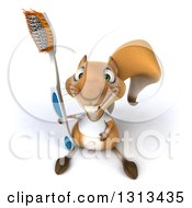Clipart Of A 3d Casual Squirrel Wearing A White T Shirt Looking Up And Holding A Giant Toothbrush Royalty Free Illustration