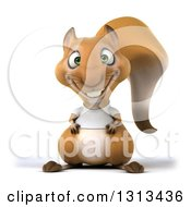 Clipart Of A 3d Casual Squirrel Wearing A White T Shirt Royalty Free Illustration