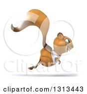 Clipart Of A 3d Casual Squirrel Wearing A White T Shirt And Hopping To The Right Royalty Free Illustration