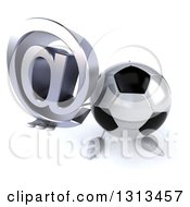 Clipart Of A 3d Soccer Ball Character Holding Up An Email Arobase At Symbol Royalty Free Illustration