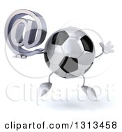 Clipart Of A 3d Soccer Ball Character Jumping And Holding An Email Arobase At Symbol Royalty Free Illustration