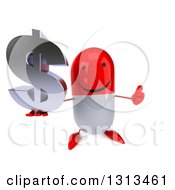 Clipart Of A 3d Happy Red And White Pill Character Holding Up A Thumb And A Dollar Symbol Royalty Free Illustration