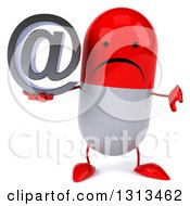Clipart Of A 3d Unhappy Red And White Pill Character Holding A Thumb Down And An Email Arobase At Symbol Royalty Free Illustration