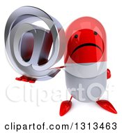 Clipart Of A 3d Unhappy Red And White Pill Character Holding Up An Email Arobase At Symbol Royalty Free Illustration