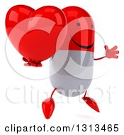 Clipart Of A 3d Happy Red And White Pill Character Facing Slightly Right Jumping And Holding A Heart Royalty Free Illustration