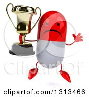 Clipart Of A 3d Unhappy Red And White Pill Character Jumping And Holding A Trophy Royalty Free Illustration