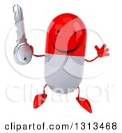 Clipart Of A 3d Happy Red And White Pill Character Jumping And Holding A Key Royalty Free Illustration