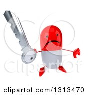 Clipart Of A 3d Unhappy Red And White Pill Character Holding Up A Thumb Down And A Key Royalty Free Illustration
