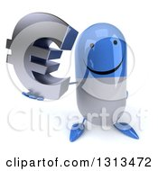 Clipart Of A 3d Happy Blue And White Pill Character Holding Up A Euro Symbol Royalty Free Illustration