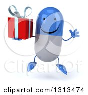 Clipart Of A 3d Happy Blue And White Pill Character Jumping And Holding A Gift Royalty Free Illustration
