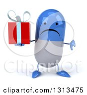 Clipart Of A 3d Unhappy Blue And White Pill Character Holding A Thumb Down And A Gift Royalty Free Illustration
