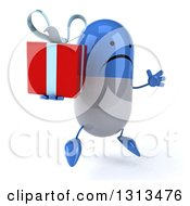 Clipart Of A 3d Unhappy Blue And White Pill Character Facing Slightly Right Jumping And Holding A Gift Royalty Free Illustration