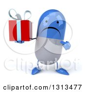 Clipart Of A 3d Unhappy Blue And White Pill Character Holding And Pointing To A Gift Royalty Free Illustration