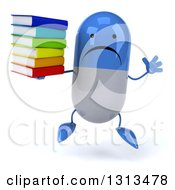 Clipart Of A 3d Unhappy Blue And White Pill Character Jumping And Holding A Stack Of Books Royalty Free Illustration