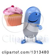 Clipart Of A 3d Happy Blue And White Pill Character Holding And Pointing To A Pink Frosted Cupcake Royalty Free Illustration
