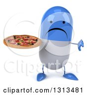 Clipart Of A 3d Unhappy Blue And White Pill Character Giving A Thumb Down And Holding A Pizza Royalty Free Illustration
